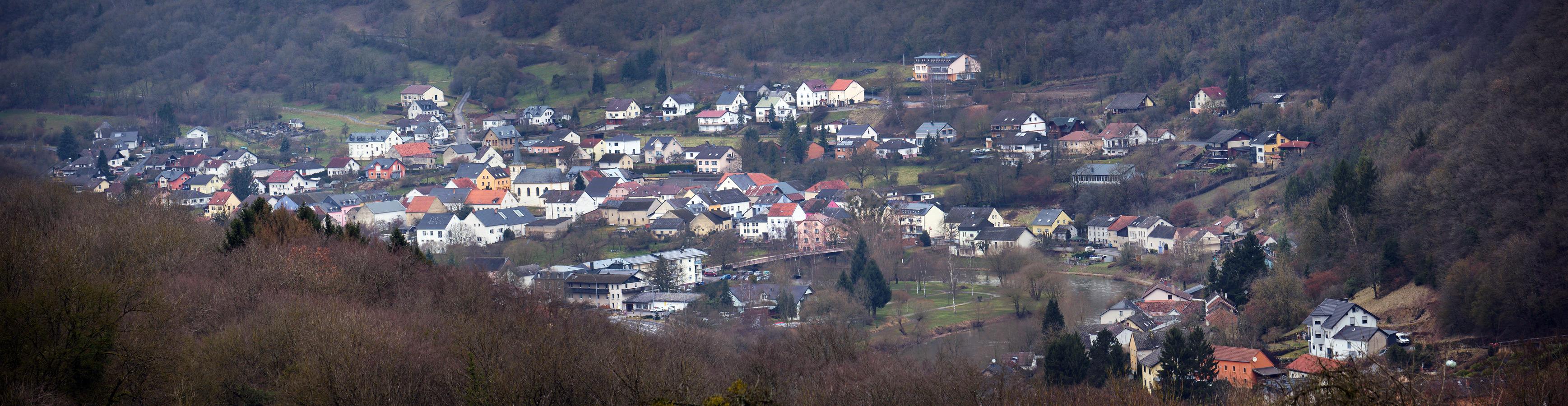 Ein Panoramabild von der Luxemburger Seite (Bigelbach) aufgenommen. Foto W.Valentin ( März 2018 )